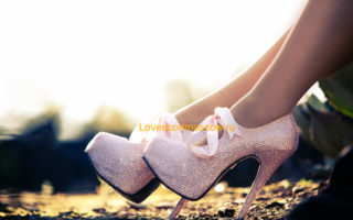 Close up of a pink heels with diamonds